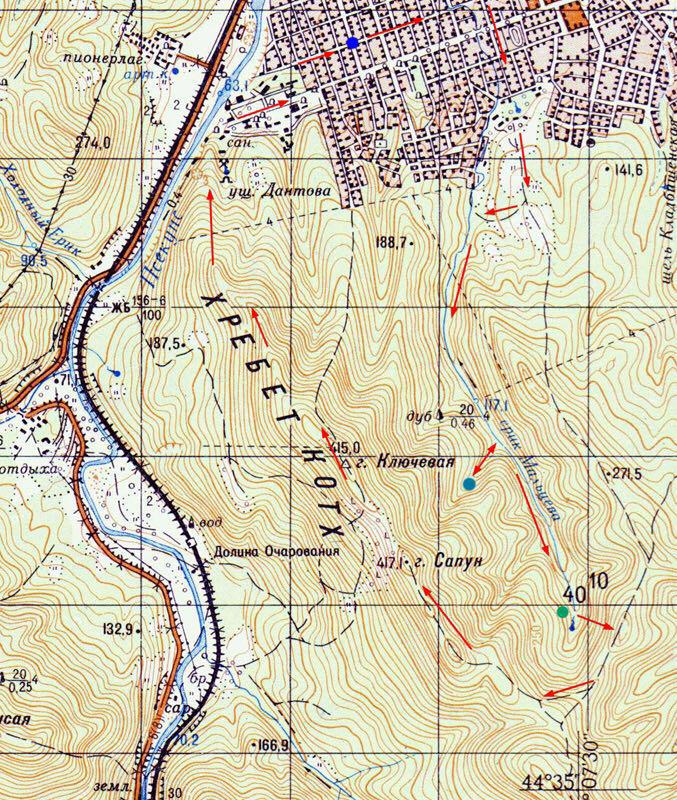 Окрестности Горячего Ключа на карте с отметками